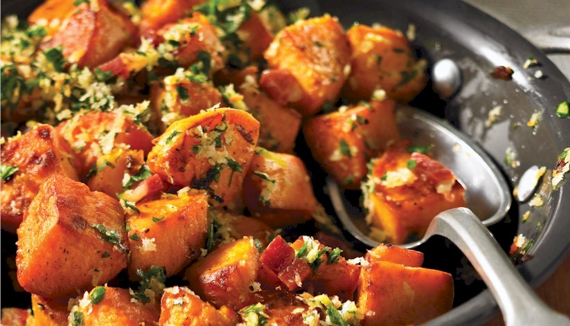 Grilled Sweet Potatoes with Gremolata